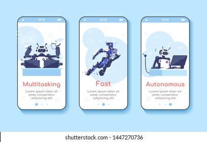 Artificial Intelligence advantages onboarding mobile app screen template. AI, machine learning. Multitasking, fast, autonomous. Walkthrough website. Flat UX, UI, GUI smartphone cartoon interface