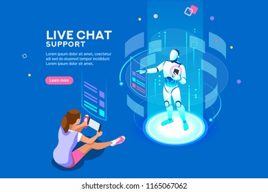 Artificial intelligence, ai business. Iot concept with man bot chat with women. Robot service for messenger application or virtual speech assistance. Flat Isometric concept with characters and text