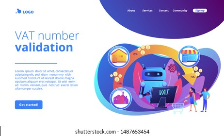Artificial intelligence, ai calculating taxation multiplier. Value added tax system, VAT number validation, global taxation control concept. Website homepage landing web page template.