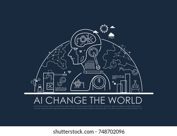 Artificial intelligence (AI) change the world concept, machine and deep learning, cloud computing, neural networks and printed circuit board (PCB). Vector line flat design to poster.