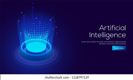 Artificial Intelligence (AI) concept responsive landing page or web template with 3D isometric illustration of digital light ball between emerging rays.