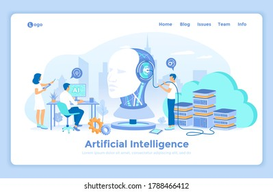 Artificial Intelligence AI, Future technology, Digital brain, Machine learning, Data mining. Robot head with a human face. Team works with smart brain computer, neural networks. landing web page.