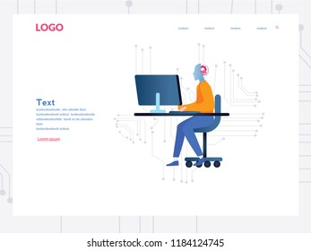 Artificial intelligence, AI with high technology, high technology Vector illustration. Symbol of future cooperation, technology advance, innovation. big data and VR, ai robot working, make money.