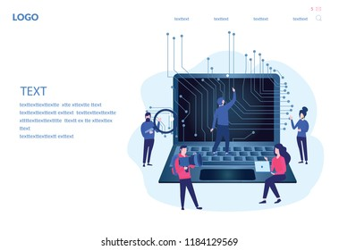 Artificial intelligence, AI with high technology, high technology Vector illustration. Symbol of future cooperation, technology advance, innovation. big data and VR, ai robot working with people