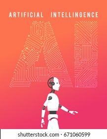 Artificial intelligence (AI) with high technology illustration design.vector