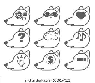 "artificial intelligence - AI icon set  ""Dog-side"""