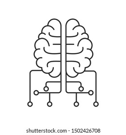 Artificial Intelligence, AI Icon. Thin line. Isolated on white background.