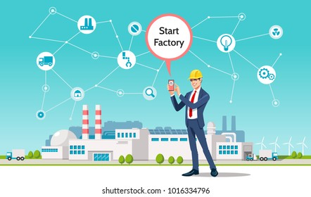 Artificial Intelligence AI, Internet of Things IoT. Business man using mobile smart phone on city background, omnichannel marketing, smart phone application, 4.0 industrial technology, remote control