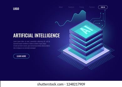 Artificial intelligence, AI isometric icon, computer brain, server room rack, big data, element for design digital technology dark neon vector