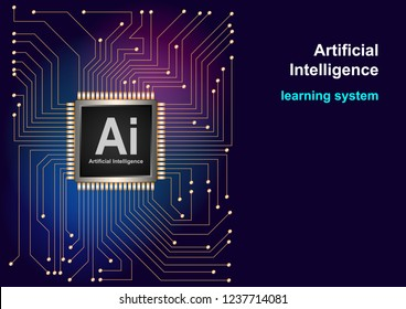 Artificial Intelligence (AI) landing system. CPU processors concept. High tech computer circuit board background. Website template for deep learning concept. Realistic 3d Vector Illustration