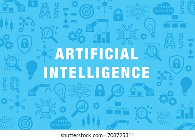 Artificial intelligence (AI) and machine learning technology vector website banner or background with icons