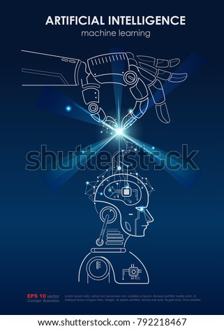 Artificial Intelligence Ai Machine Learning Poster Stock Vector