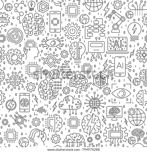 Artificial Intelligence Ai Machine Learning Technology Stock Vector