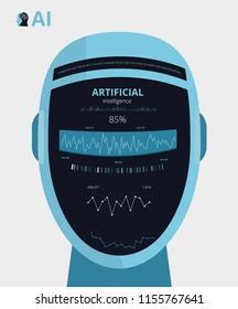 Artificial Intelligence AI Robot Concept Infographics. Vector Illustration
