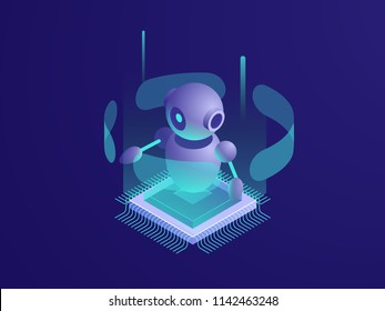 Artificial intelligence ai robot, server room, digital technology banner, computer equipment, big data processing, automated process isometric vector neon dark