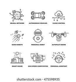 Artificial intelligence ai robot thin line icons. Neural network and autonomous vehicle, cloud control and, autopilot drone. Vector illustration