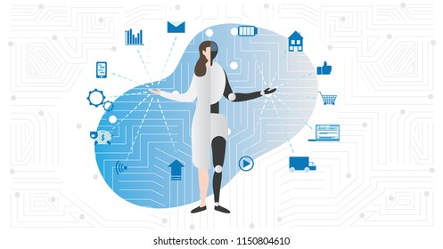 Artificial intelligence or AI vector illustration with symbols. Half human, half robot as futuristic virtual person model. Innovation and electronic multitask machine. Digital icon collection around.
