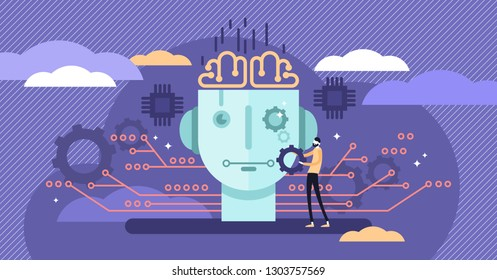 Artificial intelligence or AI vector illustration. Flat tiny IT engineer person concept with work on robot creation. Futuristic technology design on modern electronic head. Virtual intellect brains.
