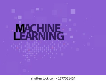 Artificial intelligence algorithms, inscription machine learning on the background of clustering. Digital concept on purple background