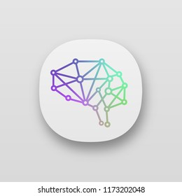 Artificial intelligence app icon. UI/UX user interface. Neural network. Digital brain. Neurotechnology. Web or mobile application. Vector isolated illustration