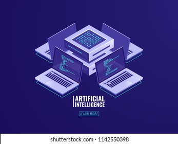 Artificial intelligence automated process big data processing, server room, computing power, software development, program code review, modern smart technologies in business isometric vector neon dark