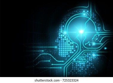 Artificial intelligence background design concept, binary code information with AI background, technology idea with electrical circuit