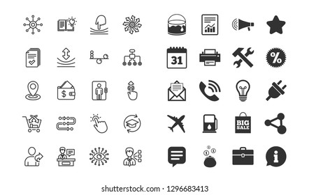 Artificial intelligence, Balance and Refer a friend line icons. Continuing education, Methodology and Exhibitors signs. Swipe up, Elastic and Click here symbols. Vector