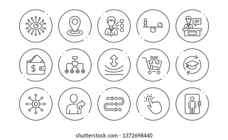 Artificial intelligence, Balance and Refer friend line icons. Timeline, Multichannel. Linear icon set. Line buttons with icon. Editable stroke. Vector