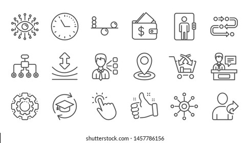 Artificial intelligence, Balance and Refer friend line icons. Timeline, Multichannel. Linear icon set. Quality line set. Vector