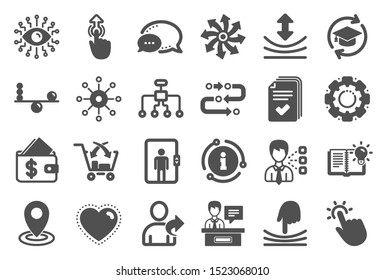 Artificial intelligence, Balance and Refer a friend icons. Continuing education, Methodology and Exhibitors signs. Swipe up, Elastic and artificial intelligence icons. Vector