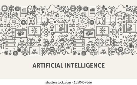 Artificial Intelligence Banner Concept. Vector Illustration of Outline Design.