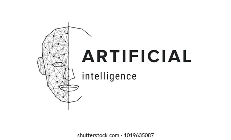 Artificial intelligence banner. Futuristic science concept. Human face polygonal style, futuristic modern technology vector illustration.