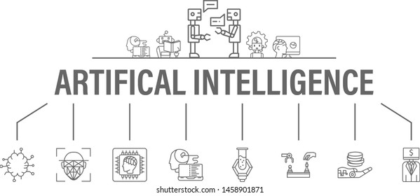 Artificial Intelligence banner with icons set. Header for website and social media: Algorithm, Deep Learning, Neural Networks, AI, Autonomous, Cybernetics, Robotics. Vector design illustration