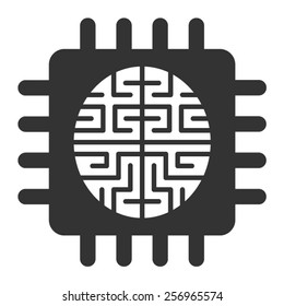 Artificial intelligence brain chip or machine learning flat vector vector icon for apps and websites