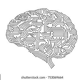 artificial intelligence brain or circuit board in brain shape vector illustration