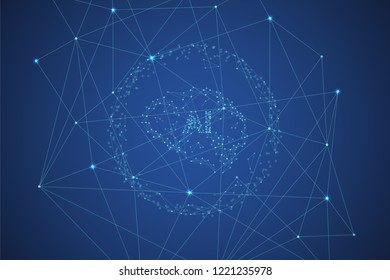 Artificial intelligence brain computer interface with connecting lines and dots.  Neurotechnologies and Ai technology concept background. Polygonal space vector illustration in dark blue color.