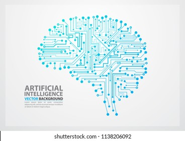 Artificial Intelligence brain illustration with board circuit concept