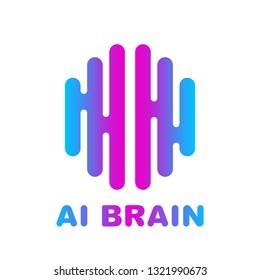 Artificial intelligence brain logo - vector AI technology concept symbol or design element. EPS 10