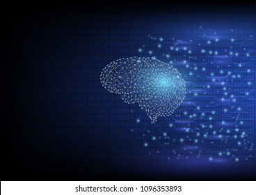 Artificial intelligence brain with neural network circuit lines. Abstract digital technology and engineering background concept. Virtual graphic.Vector illustration.