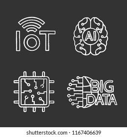 Artificial intelligence chalk icons set. Neural network. Neurotechnology. Internet of things, big data, chip, AI. Isolated vector chalkboard illustrations