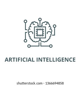 Artificial intelligence, chip with brain line icon, vector. Artificial intelligence, chip with brain outline sign, concept symbol, flat illustration