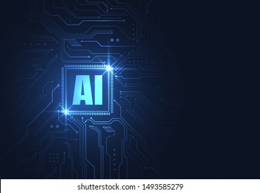 Artificial intelligence chipset on circuit board in futuristic concept technology artwork for web, banner, card, cover. Vector illustration