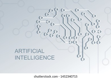 Artificial intelligence circuit board,  machine learning technology vector background, digital computer brain.
