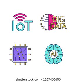 Artificial intelligence color icons set. Neural network. Neurotechnology. Internet of things, big data, chip, AI. Isolated vector illustrations