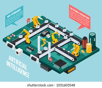 Artificial intelligence composition with robotics and technology symbols isometric  vector illustration