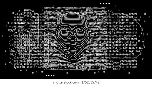 Artificial Intelligence concept. 3D model of human face made of lines, Op art surreal style.
