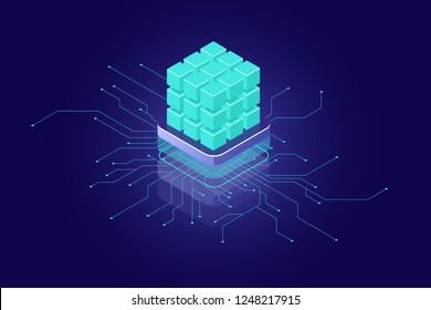 Artificial intelligence concept, ai isometric icon, big data calculation, supercomputer concept, green blocks, database, data security encryption dark neon vector