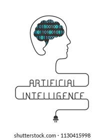 Artificial intelligence concept with brain made of binary code and wire forming the head and words