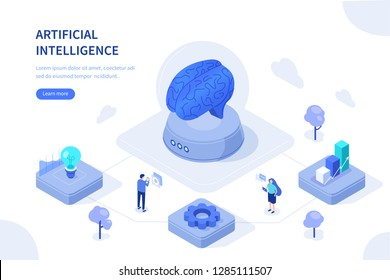 Artificial intelligence concept. Can use for web banner, infographics, hero images. Flat isometric vector illustration isolated on white background.