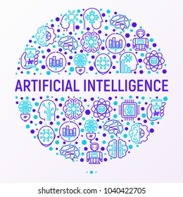 Artificial intelligence concept in circle with thin line icons: robot, brain, machine learning, marketing analytics, cpu, chip, voice assistant. Modern vector illustration for banner, print media.